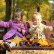 Two little beautiful girls sitting on the bench in warm autumn day — Stock Photo