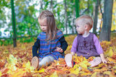 Two little beautiful girls sitting on the yellow meadow in warm autumn day — Stock Photo