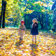 Two beautiful adorable girls walking in the fall forest at warm sunny autumn day — ストック写真