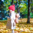 Little girl with a backpack-bear walks in the autumn forest on beautiful sunny day — Stock Photo