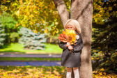 Adorable Fashion girl standing under a tree with bouquet of maple leaves on sunny autumn day — Stock Photo