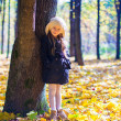 Little beautiful girl on the autumn meadow in a sunny fall day — Stock Photo #32781363