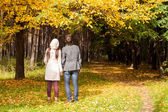 Back view of Young couple in love on the big autumn meadow under large maple tree at sunny fall day — Stock Photo