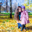 Foto Stock: Little cute girl and young mother in autumn park on sunny day