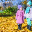 Two adorable girls enjoying and having fun in the warm sunny autumn day — Stock Photo