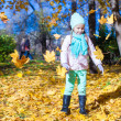 Little funny girl throws autumn leaves in park on fall day — Stock Photo #34008773
