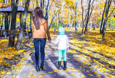 Back view of Young mother and her adorable daughter walking in yellow autumn forest on a warm sunny day — Stock Photo
