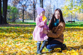 Little adorable girl and young mother in autumn park on sunny day — Stock Photo
