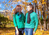 Portrait of Happy couple in love on autumn sunny fall day — Stock Photo