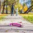 Adorable little girl with happy father walking in autumn park on sunny day — 图库照片 #34010951