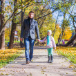 Adorable little girl with happy father walking in autumn park on a sunny day — Stock Photo