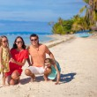 Stock Photo: Beautiful family of four have fun on beach in Philippines