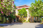 Beautiful house with a gorgeous outdoor courtyard flower on the island in Philippines — Stock Photo