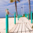Wooden Walkway to the sandy beach — Stock Photo
