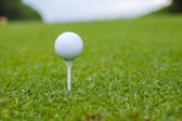 Golfball on a tee against the golf course — Stock Photo