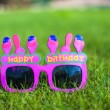 Red Happy Birthday Glasses on the grass — Stock Photo