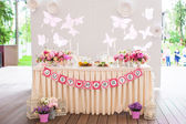Wedding white banquet tables prepared for celebration — Stock Photo