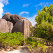 Stock Photo: Big smooth rocky coast on Seychelles