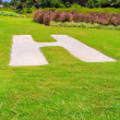 Stock Photo: Helipad on grass in Seyshelles
