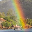 Stock Photo: Big Rainbow over tropical island and luxurious hotel at Seychelles