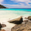 Stock Photo: Turquoise exotic lagoon with big stones at Seychelles