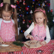 Little cute sisters bake gingerbread cookies for Christmas — Stock Photo