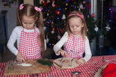 Little cute sisters bake gingerbread cookies for Christmas — Stockfoto