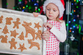 Little girl in Santa hat shows her Christmas gingerbread cookies — Stockfoto