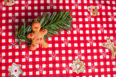 Gingerbread man on bright table — Stock Photo