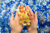 Colorful gingerbread man in female hands — Foto Stock