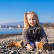 Adorable little girl on the beach in a cozy sweater and dress at warm winter day — Stock Photo #38882055