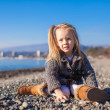 Adorable little girl on the beach in a cozy sweater and dress at warm winter day — Stock Photo #39051183