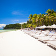 Stock Photo: Fantastic view of nice tropical empty sandy plage with umbrelland beach chair