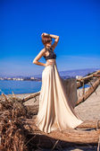 Charming young woman in a long dress posing on the beach — Stock Photo