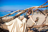 Charming young woman in a long beautiful dress posing on the beach — Stock Photo