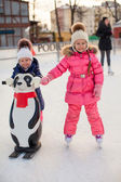 Two adorable little girls skating at the ice-rink — Stock Photo