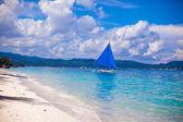 Small boat in open sea on the island of Boracay — Stock Photo