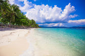Perfect beach with green palms,white sand and turquoise water — Stock Photo