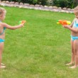 Two little adorable girls playing with water guns in the yard — Stock Photo #41243667
