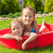 Two little happy girls having fun in small pool outdoor on summer day — Stock Photo #41243709