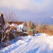Winter snowy landscape with houses in a small village — Stock Photo
