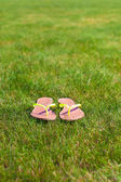 Closeup of bright flip flops on green grass — Stock Photo