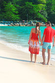 Back view of Young couple enjoying each other on a tropical beach — Стоковое фото
