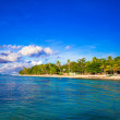 Landscape of tropical island beach with perfect blue sky in Bohol — Stock Photo