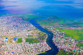 View of the city from a bird's flight on Manila — Stock Photo
