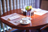 Served table for breakfast in luxury hotel — Стоковое фото