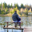 Young dad and little girl fishing on the lake — Stock Photo #46179603
