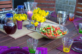Beautiful home served table for dinner on the veranda — Stock Photo