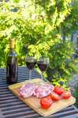 Fresh meat, vegetables and bottle of wine on a picnic outdoors — Stock Photo