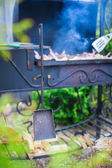 Grilled steak cooking on an open barbecue — Stock Photo